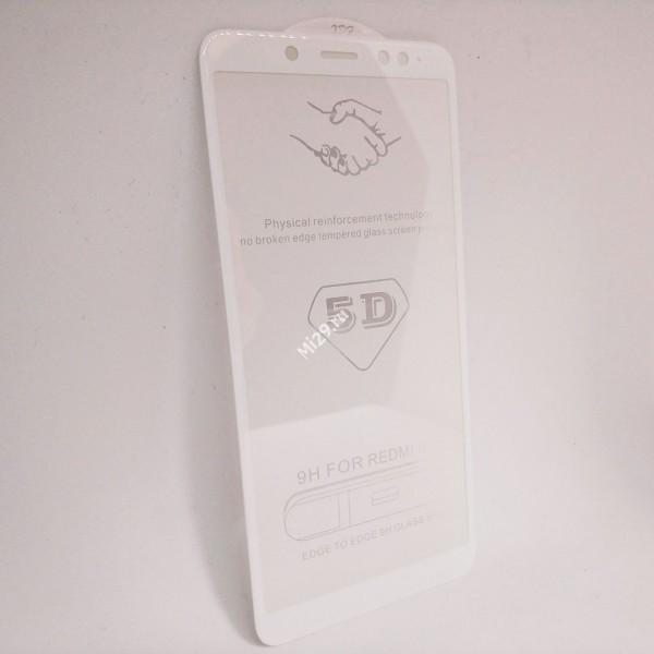 Стекло 5D Redmi Note 5 Pro белое
